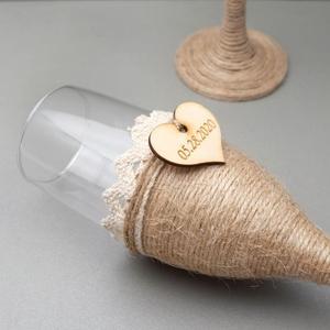 Image 3 - 2Pcs Personalized Wedding Glasses Wedding Champagne Toasting Flutes Custom Names Date Burlap Lace Rustic Flutes Wedding Gift