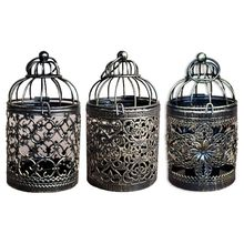 Hollow Tealight Candlestick Hanging Lantern Vintage Bird Cage Candle Holder Wedding Party Home Decor