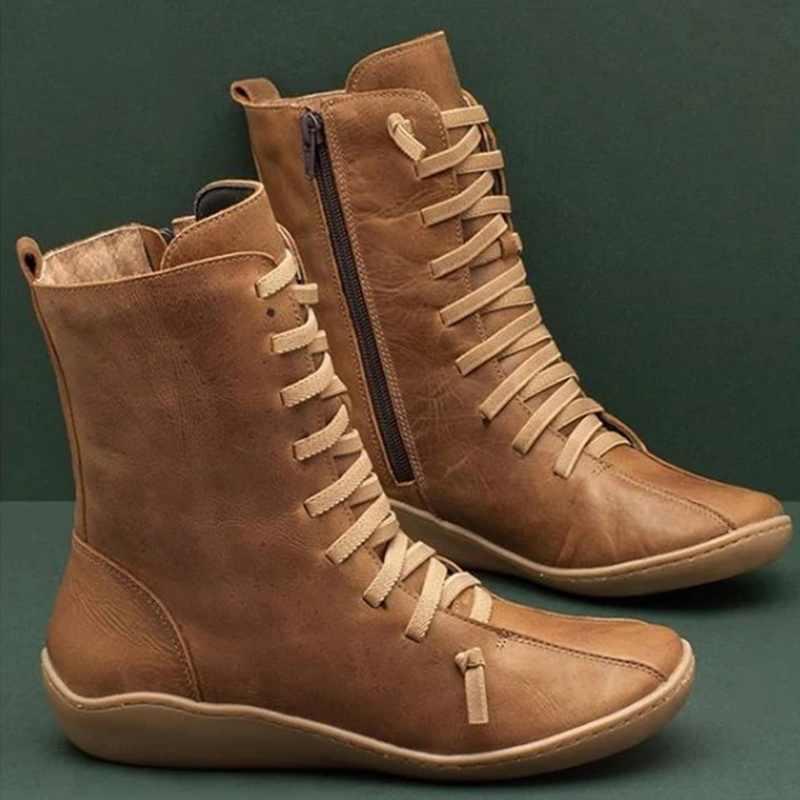 Oeak kadın orta buzağı botları daireler gladyatör Lace Up düz martin ayakkabı kadın Chaussure Zapatos Mujer Vintage PU deri patik