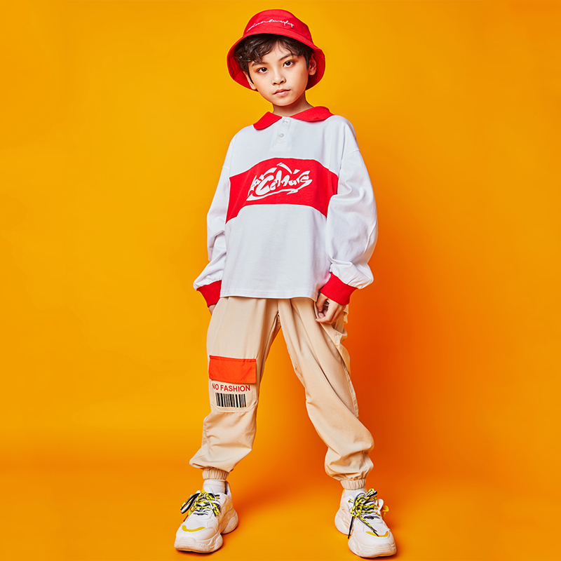 New Boys Hip Hop Dance Costumes For Kids Street Dance Clothing Sweater Khaki Pants Jazz Modern Dance Performance Clothes DQS3775