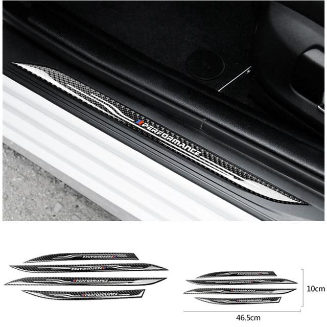 רכב סטיילינג דלת אדן שפשוף צלחת משמרות מדבקות אביזרי פחמן סיבי סף מגן מדבקות עבור BMW F10 5 סדרת 11 17