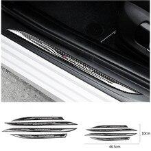 Araba Styling kapı eşiği tıkama plakası muhafızları çıkartma aksesuarları karbon Fiber eşik koruyucu çıkartmalar için BMW F10 5 serisi 11 17