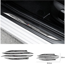 Car Styling Davanzale Del Portello Del Piatto Dello Scuff Guardie Della Decalcomania Accessori In Fibra di Carbonio Soglia Protector Adesivi per BMW F10 5 Serie 11 17