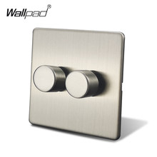 Wallpad interrupteur de gradateur 2 voies | Wallpad, interrupteur de gradateur Double-voie Satin chromé, bouton poussoir sur le panneau métallique en acier inoxydable(China)