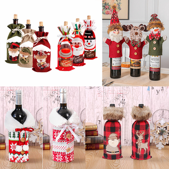 Christmas Wine Bottle Cover Merry Christmas Decor For Home 2020 Christmas Table Decor Navidad Natal Noel Xmas Gift New Year 2021 fengrise santa claus christmas wine bottle cover merry christmas decor for home xmas ornaments gifts navidad 2020 new year 2021