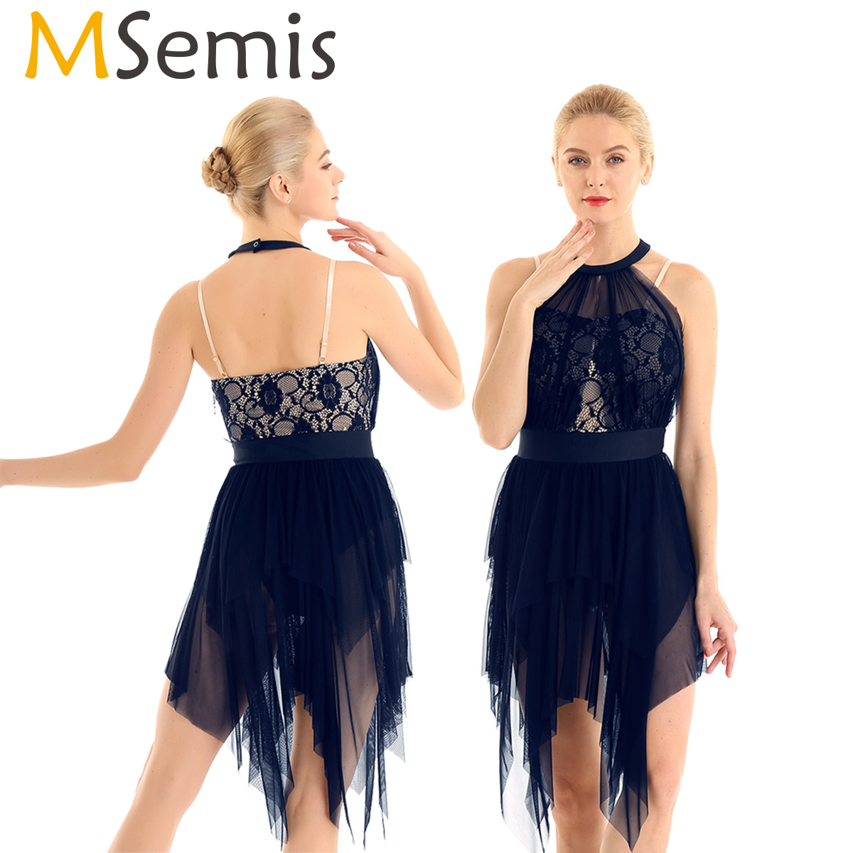MSmeis Women Lace Asymmetrical Figure Ice Skating Dress Latin Ballet Ballroom Dance Dresses Contemporary Lyrical Dance Costumes