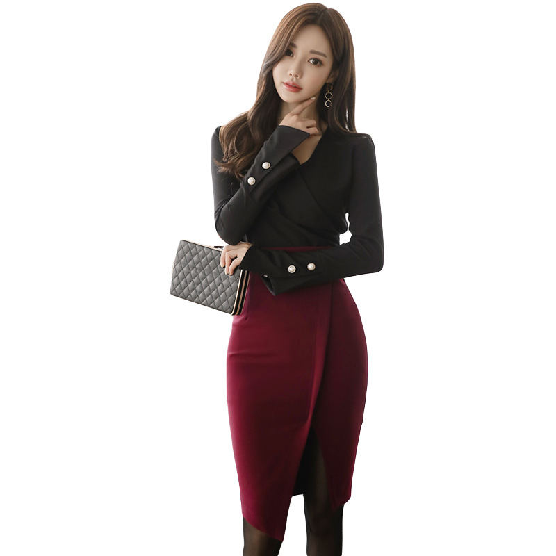 WOMEN'S Dress 2019 New Style Debutante Set Business Slim Fit Shirt + Sheath Skirt Set