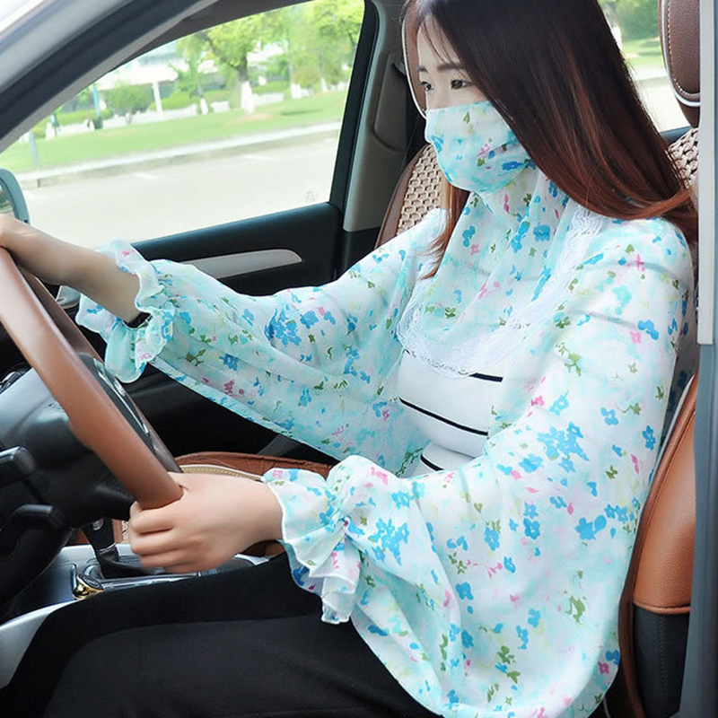 2020 Women Face Mask Silk Scarf Floral Summer Sunscreen Poncho Outside Sun Protection Driving Riding Chiffon Scarves For Ladies