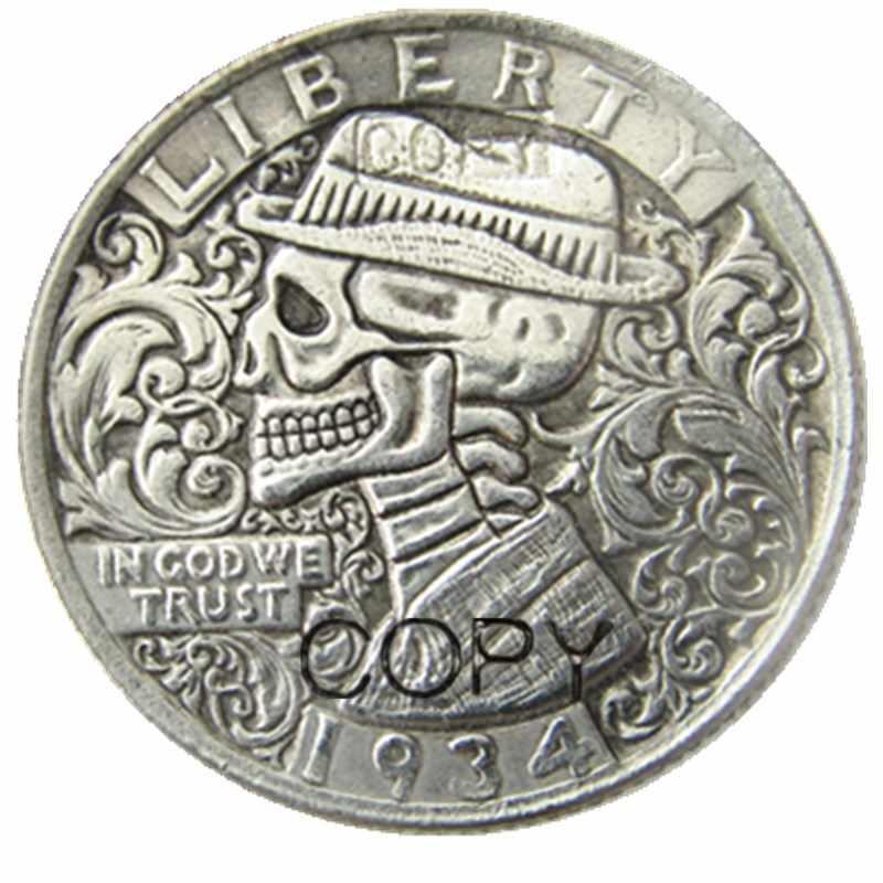 Hobo kreatywny 1934 Washington Quarter dolarów czaszka Zombie szkielet ręcznie rzeźbione kopiuj monety