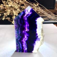 1PC Natural Fluorite tower Tablets Quartz Crystal Colorful Stripes Fluorite Rainbow Stone Can Be Used For Home Decoration Ornam(China)