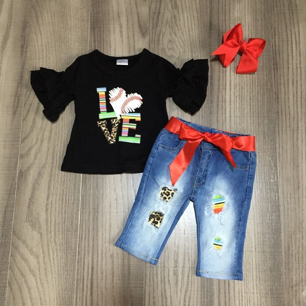 Baby Girls Ball Game Outfits Girl Love Baseball Black Raglans With Belt Jeans Baby Children Spring Clothing With Bow
