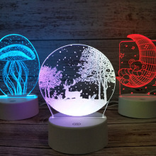 3D Touch Night Lights 7 Color Christmas Tree elk Acrylic Desktop LED Light Lamps Table Desk Bedroom Decor Gift Lamp Ornament