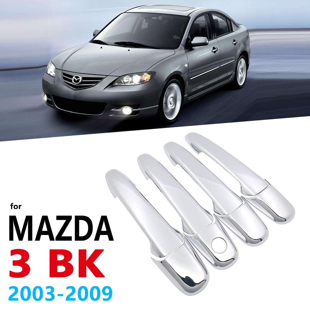 Chrome Handles Cover for Mazda 3 <font><b>Mazda3</b></font> BK Sedan Hatch 2003~2009 Car Accessories Auto Stickers 2004 2005 2006 <font><b>2007</b></font> 2008 1st Gen image