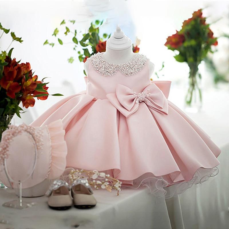 Vestidos brancos de cetim para meninas, vestidos para meninas de princesa, de miçangas, laços, festa noturna, vestido infantil para meninas gala, roupas infantis 2 8 10 anos