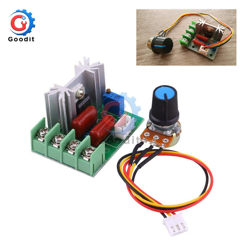 AC 50V-220V 2000W Motor Speed Controller High Power SCR Voltage Regulator Dimming Dimmers Governor Module W/ Potentiometer 110V