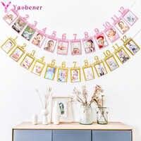 Primer cumpleaños niña fiesta 12 marco de fotos de meses Banner bebé decoraciones de 1er cumpleaños niño My One Year artículos para mesa oro rosa