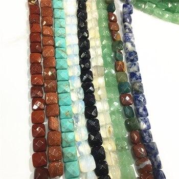 Nuevo caliente Natural 8*8*5mm de la princesa-piedra perlas facetadas cuadrado sueltos joya a la moda para la fabricación de la joyería venta al por mayor 50 Uds