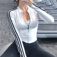 Laisiyi Wanita Gym Tops Kebugaran Tops Hitam Garis Patchwork Ritsleting Sexy Crop Top Musim Gugur Musim Dingin Wanita Bodycon Streetwear Pakaian(China)