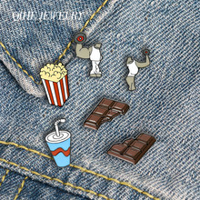 Qihe jóias fitness exercício esmalte pinos bíceps cola pipoca broches de chocolate emblemas moda pinos presentes para amigos atacado