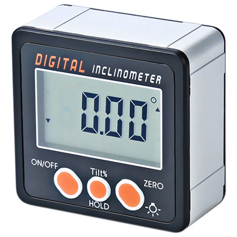 BESTDigital Inclinometer 0-360 Angle Triangle Ruler Electronic Protractor Aluminum Alloy Shell Box Angle Gauge Meter Magnets Bas