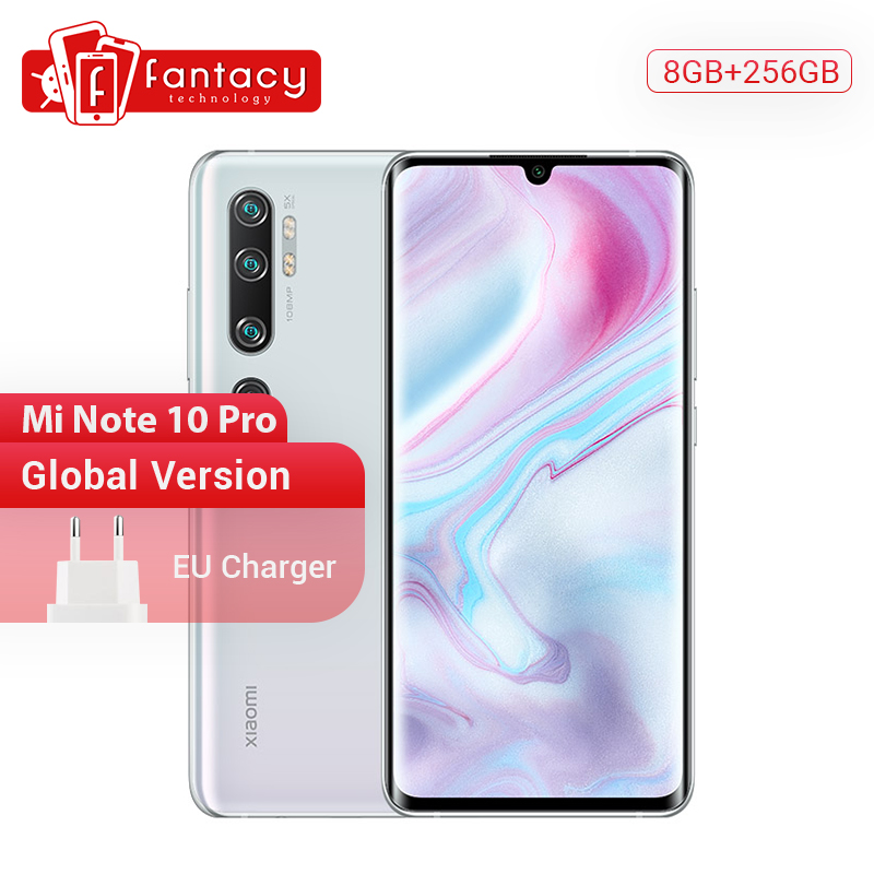 Global Version Xiaomi Mi Note 10 Pro 8GB RAM 256GB ROM 108MP Penta Camera Snapdragon 730G Octacore Cellphone 6.47 Curved 5260mAh