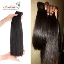Double Drawn Brazilian Straight Virgin Hair Weave Bundles Arabella 100% Human Hair Extension Thick Ends Hair For Top Customer