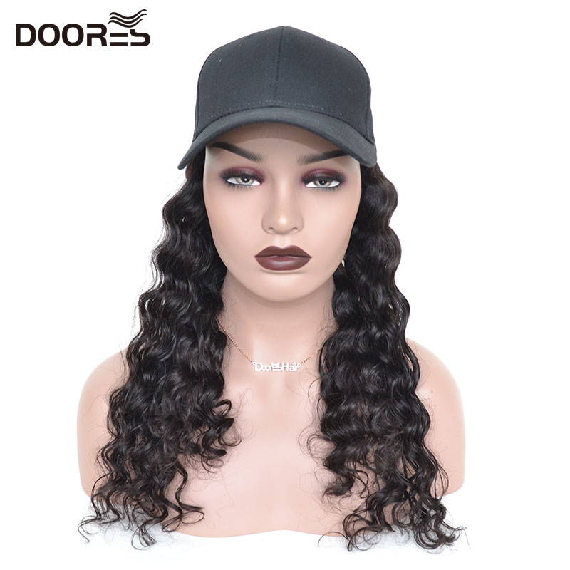 Doores Hair Loose Wave Human Hair Wigs For Women Wigs Human Hair With Hat 100% Unprocessed Human Hair 10-24