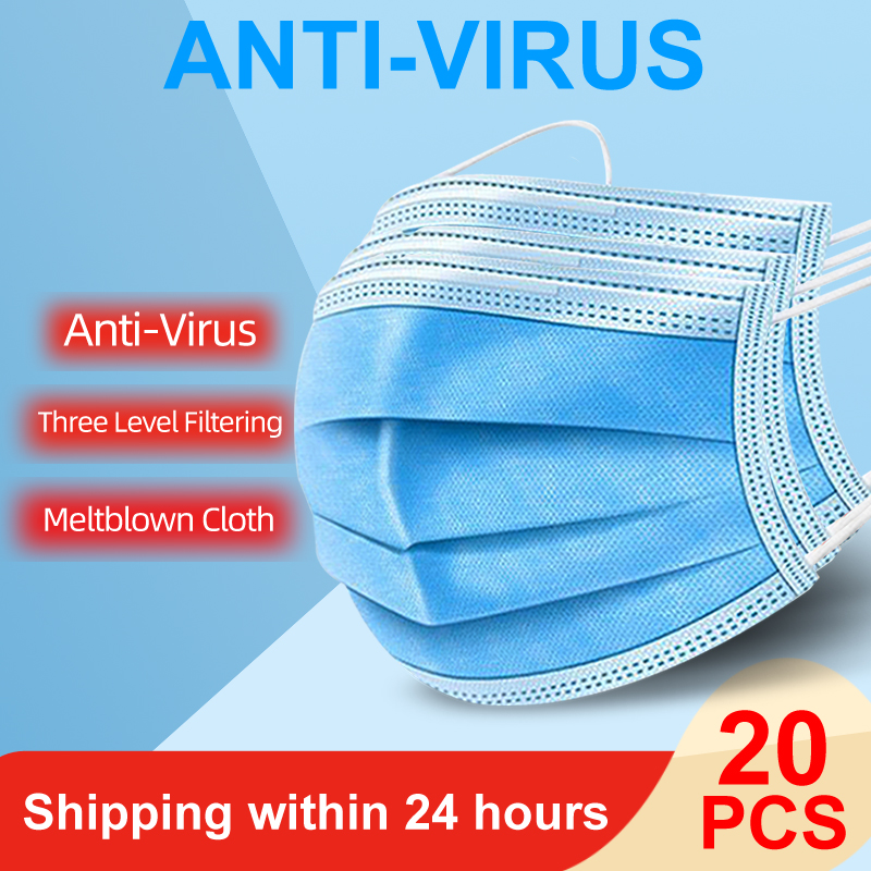 3 Layers Protective Masks Non-Woven Disposable Face Antibacterial PM2.5 Anti-COVID-19 Virus Earloops Face Anti-Dust Mask