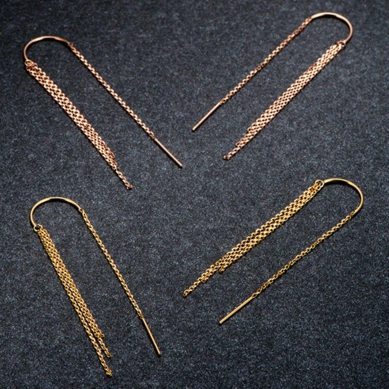 Boucles d'oreilles en or 18k pur solide femmes chance O chaîne glands boucles d'oreilles pendantes 51mmL 18K jaune/or Rose