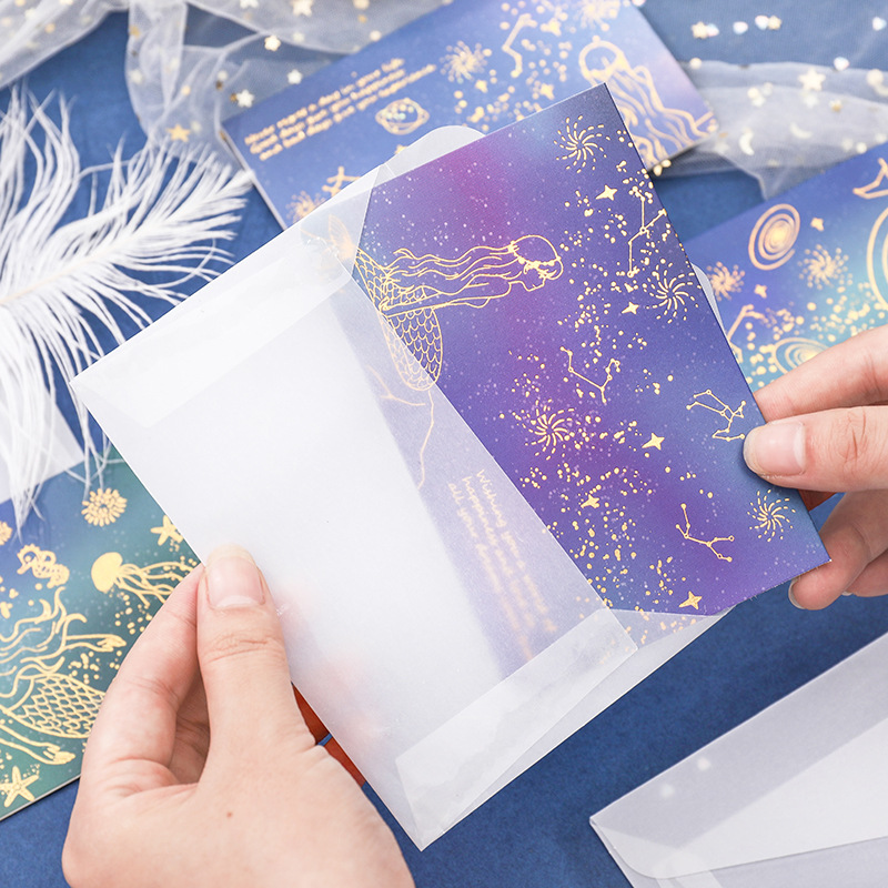 W0048 Sulfuric Acid Paper Bronze Folding Cards Envelop Package Holiday Birthday Postcard High-End Beautiful Envelope