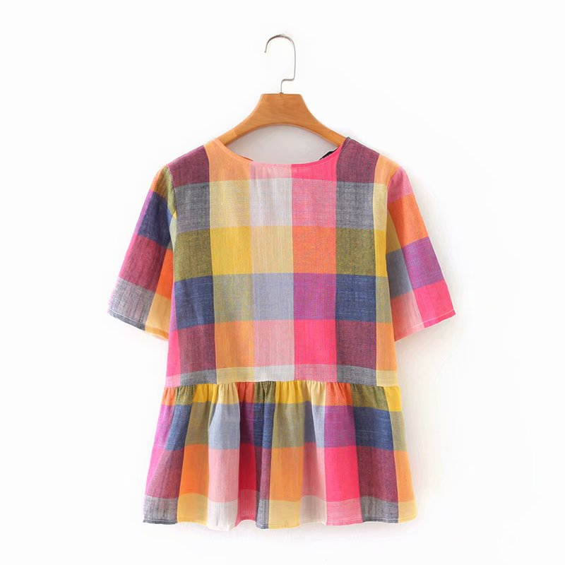 New 2020 Women Sweet Colorful Plaid Print Casual Smock Blouse Ladies O Neck Back Bow Tie Chic Shirt Summer Femininas Tops LS6525