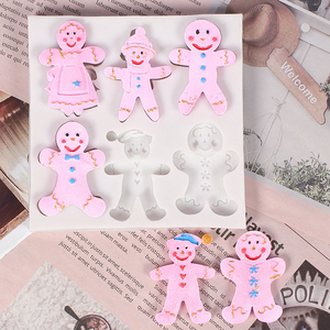 2020 Christmas Gingerbread Man Christmas Series Silicone Mold Fondant Cake Mold Chocolate Candy Clay Mold Kitchen Cooking Tools