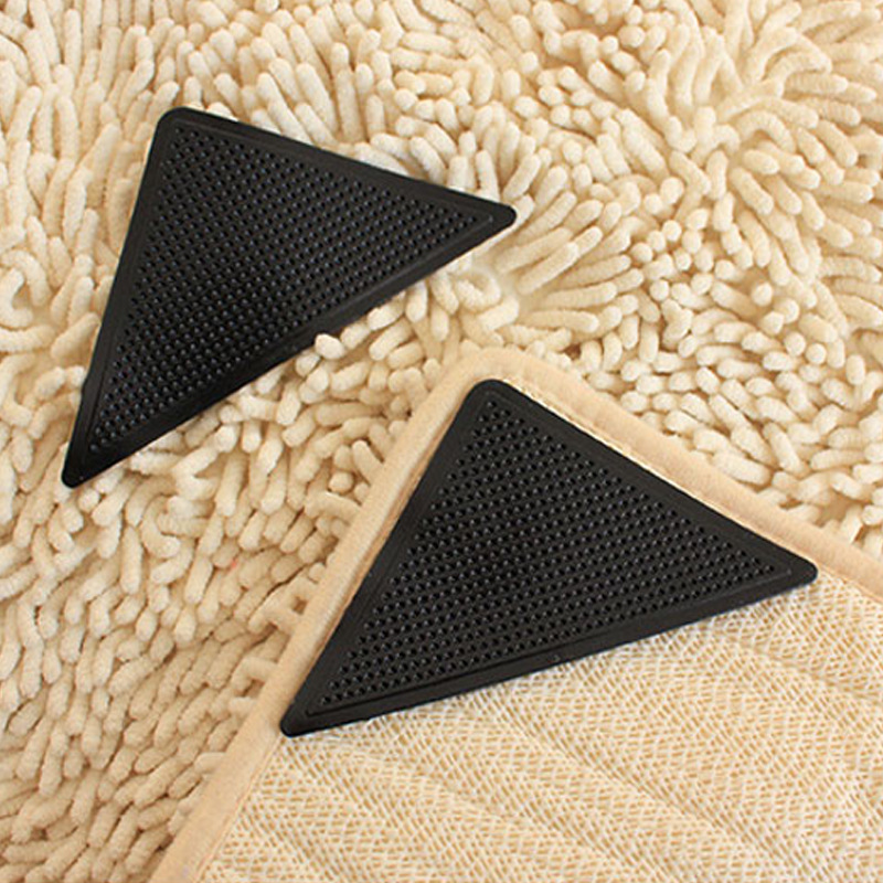 4-Piece Anti-slip Fixed Silicone Sheet Carpet Stickers Mat Stickers