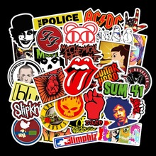 52pcs Pack Rock ROCK Punk Band Waterproof Removable Graffiti Handbook Sticker Skateboard Trolley Case Car Sticker Custom