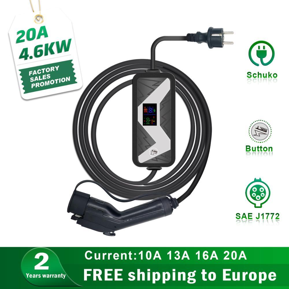 4.6KW Sae J1772 Evse Elektrische Auto Oplader Ev Niveau 2 Ac 220-230V 20A Type1 Plug Charger Ev opladen Stations Ingang