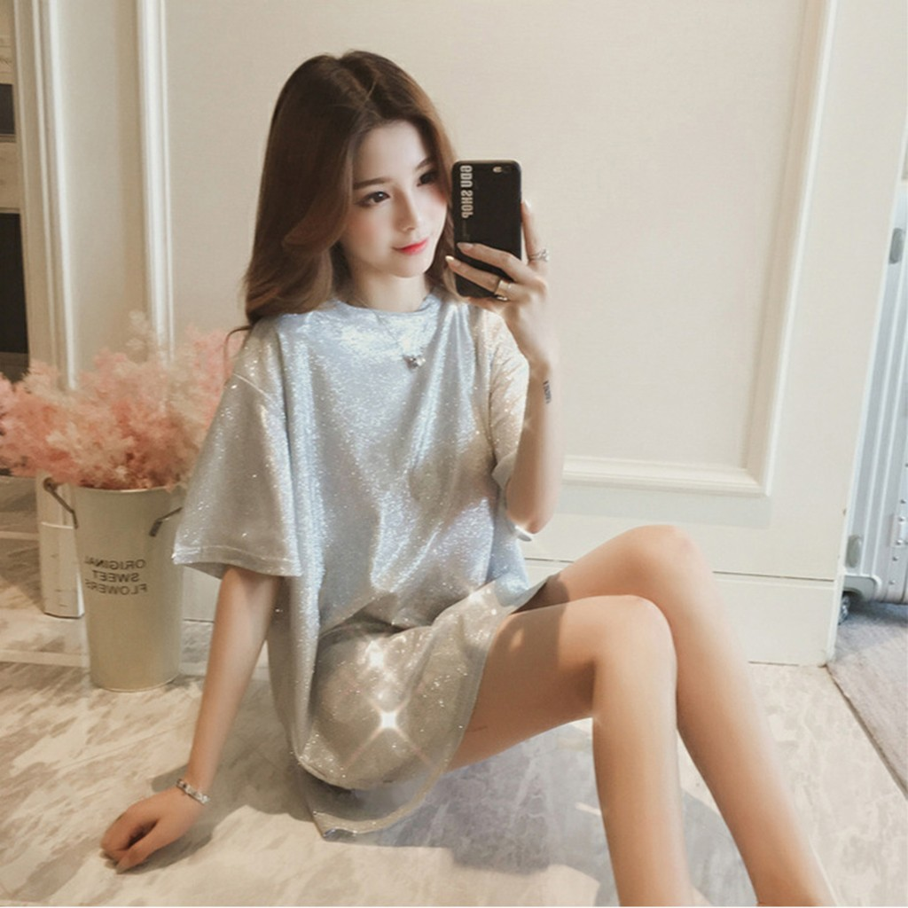 Fashion Reflective T Shirt Bling tshirt 2020 Casual Summer Ladies Loose O-Neck Tunic Tops Female Women Short Sleeve Shirt Blusas