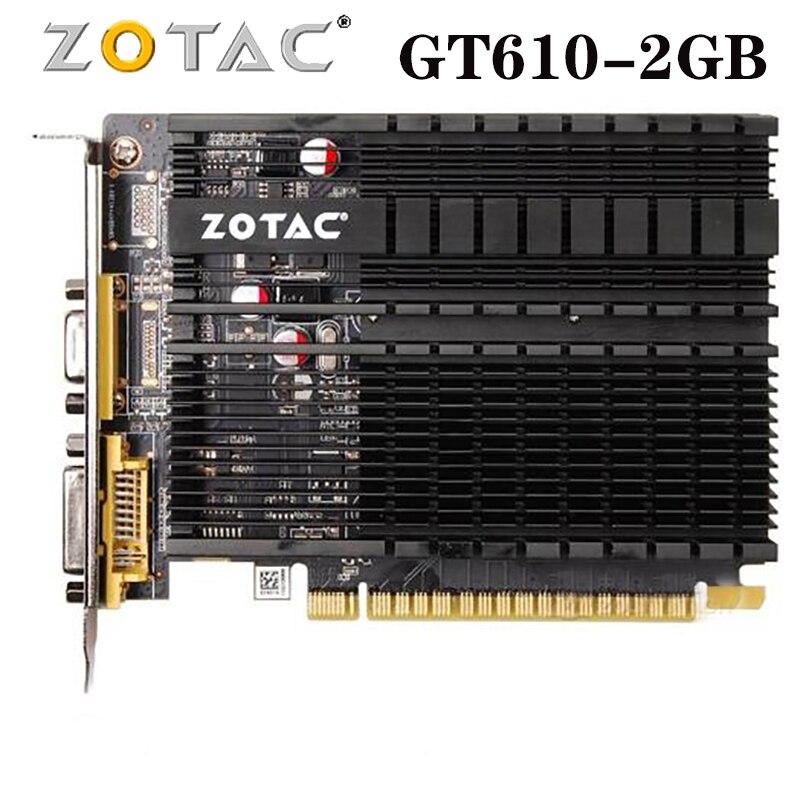 Видеокарта ZOTAC GeForce GT610 2 Гб 64 бит GDDR3 графические карты GPU Map для NVIDIA Original GT 610 2GD3 DVI VGA PCI-E б/у