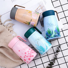 Baby Feeding Bottle Sweet Thermos Cup 304 Stainless Steel Keep Water Hot Portable Rope For Kids Children School Use 380ml(China)