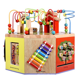 Wooden Multi-functional Large Octahedral Intelligence Bead-stringing Toy Beaded Bracelet Treasure Chest 1-2-3 a Year of Age Chil