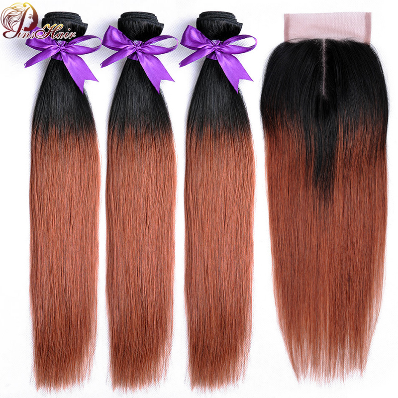 Ombre Bundles With Closure Dark Red Hair 1B 33 Straight Brazilian Human Hair Weave 3 Bundles With Closure Pinshair Non Remy Hair