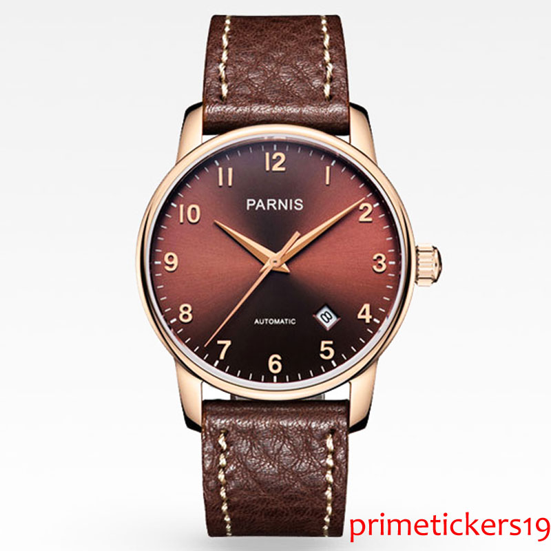 Luxury 38mm PARNIS coffee dial rose golden case coffee leather strap sapphire glass automatic mens watch 824 image