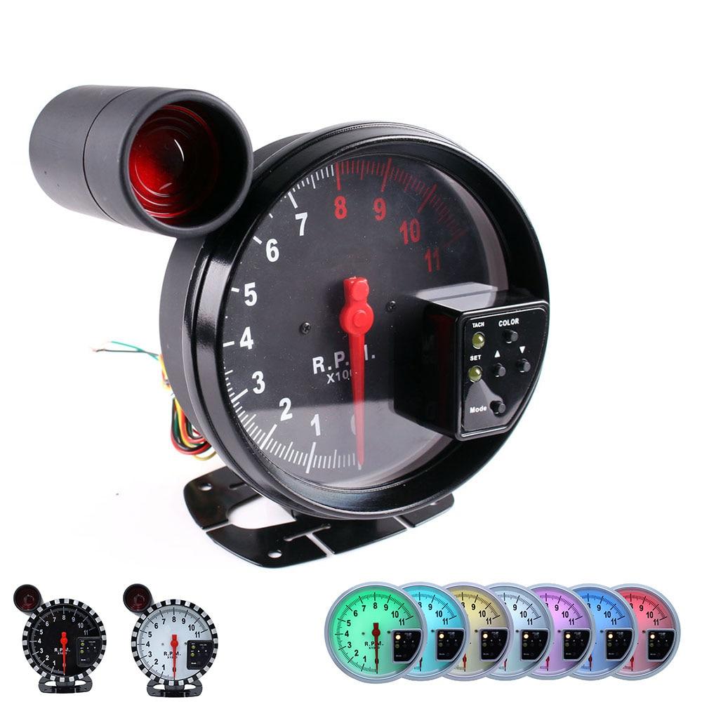 5 Polegada Calibre 11000 Stepper Motor Tacômetro Medidor RPM com Shift Luz Trabalho Para 1-10 Cilindros Carro