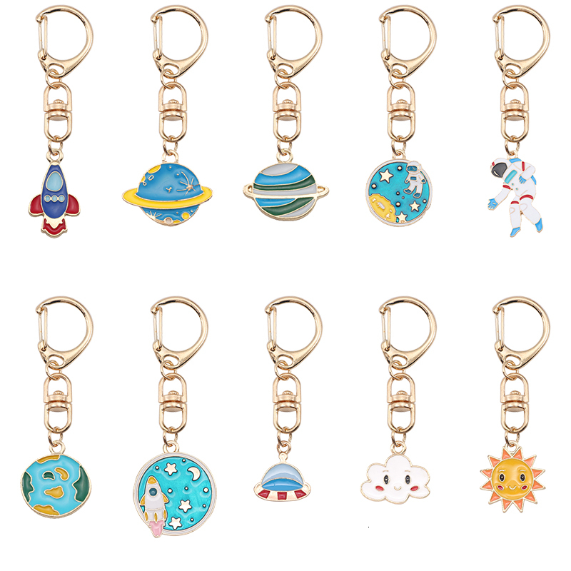 Sweet Cute Keychain For Woman Girl Buckle Planet Astronaut Sun Cloud Colorful Pendant Metal Key Ring Lovely Jewellery Gift 2019