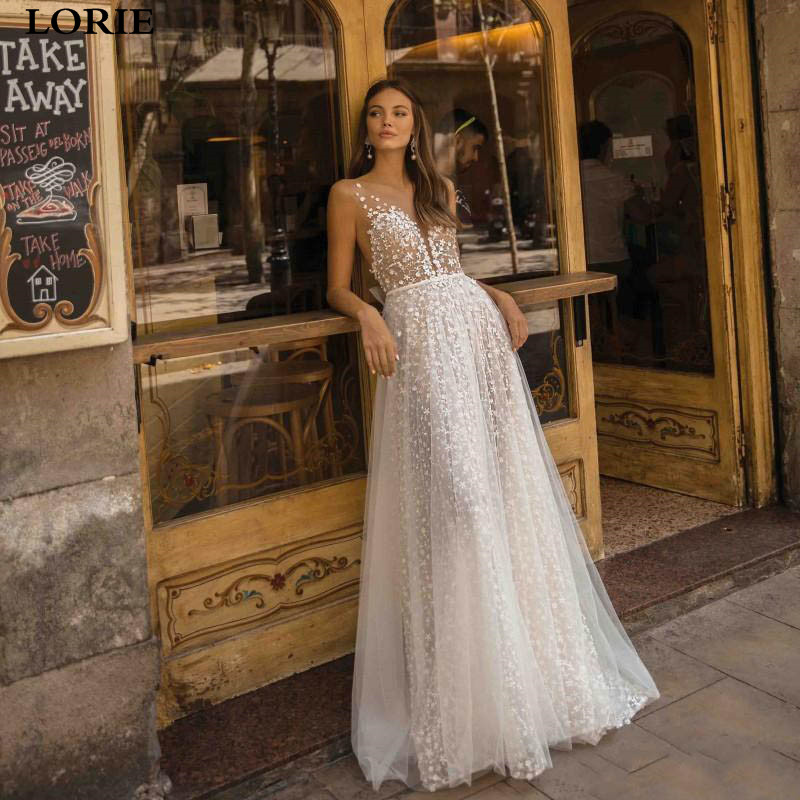 LORIE Princess Wedding Dress A Line Sexy V Neck Appliques Lace Boho Bridal Dresses Illusion Back Vestidos De Novia