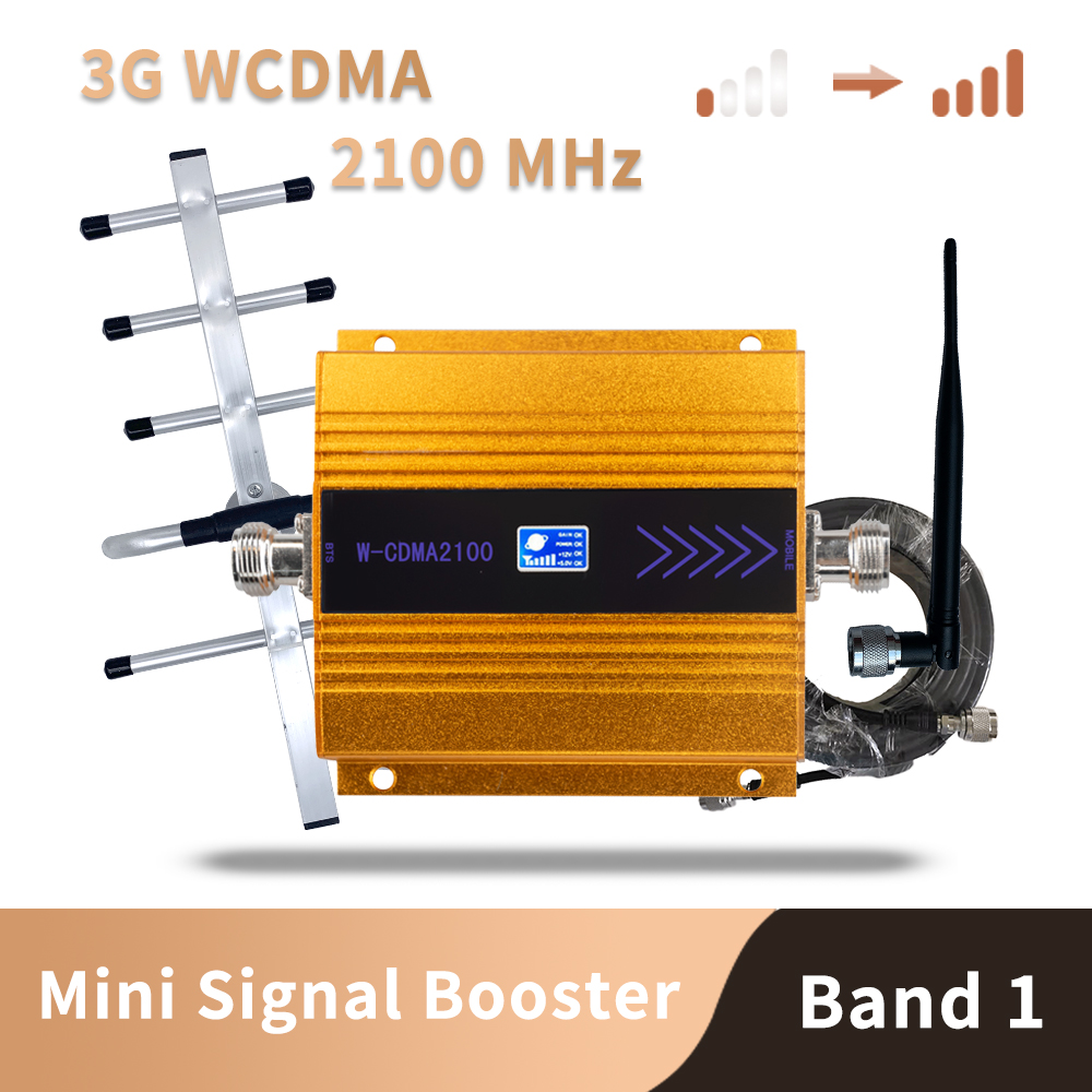 3G WCDMA 2100MHz Mobile Phone Cell Phone Signal Booster Repeater Only Gain 65 Dbi LCD Display , Antenna Not Included