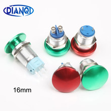 16mm Metal Waterproof Alloy Push Button Switch mushroom Momentary 1NO Button Screw terminal screw press button 16MG(China)