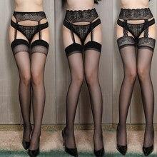 Sexy Kous Kant Soft Top Dij Hoge Kousen + Jarretelle Jarretellegordel Lingerie Vrouwen Panty Panty Bloemen Fit Hieronder 60Kg