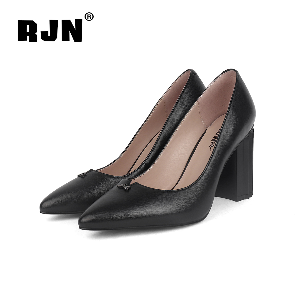 New RJN High Quality Genuine Leather Shallow Well Pumps Matel Decoration Strange Style Super High Heel Shoes Slip-on Women Pumps R02