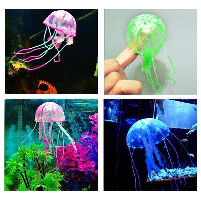 1pc Colorful Artificial Glowing Effect Jellyfish Fish Tank Aquarium Decor Mini Submarine Ornament Decoration Aquatic Pet Supplie 2