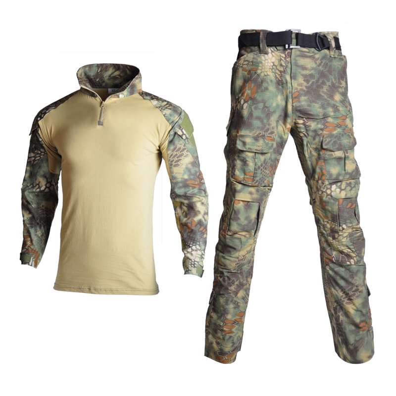 Tactical Airsoft Camouflage Military Uniform Clothes Suit Men Clothes Airsoft Military Combat Shirt + Cargo Pants With Knee Pads